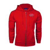 Champion Red Fleece Full Zip Hood-Official Logo