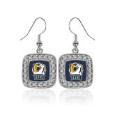 Crystal Studded Square Pendant Silver Dangle Earrings-New York Tech Bear Head