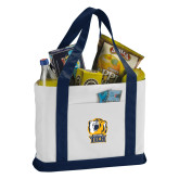 Contender White/Navy Canvas Tote-New York Tech Bear Head