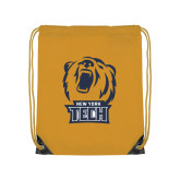 Gold Drawstring Backpack-New York Tech Bear Head