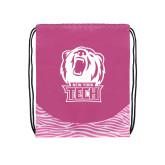 Nylon Zebra Pink/White Patterned Drawstring Backpack-New York Tech Bear Head
