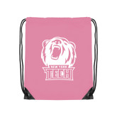Light Pink Drawstring Backpack-New York Tech Bear Head