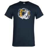 Navy T Shirt-Bear Head Distressed