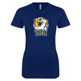 Next Level Ladies SoftStyle Junior Fitted Navy Tee-New York Tech Bear Head