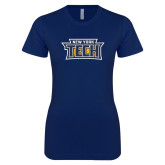 Next Level Ladies SoftStyle Junior Fitted Navy Tee-New York Tech