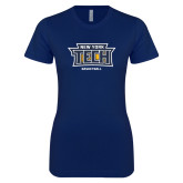 Next Level Ladies SoftStyle Junior Fitted Navy Tee-Basketball New York Tech