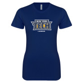 Next Level Ladies SoftStyle Junior Fitted Navy Tee-Lacrosse New York Tech