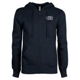 ENZA Ladies Navy Fleece Full Zip Hoodie-New York Tech