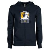 ENZA Ladies Navy Fleece Full Zip Hoodie-New York Tech Bear Head