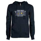 ENZA Ladies Navy Fleece Full Zip Hoodie-Cross Country New York Tech