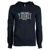 ENZA Ladies Navy Fleece Full Zip Hoodie-Softball New York Tech