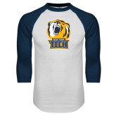 White/Navy Raglan Baseball T Shirt-New York Tech Bear Head