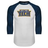 White/Navy Raglan Baseball T Shirt-New York Tech