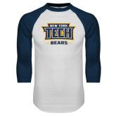 White/Navy Raglan Baseball T Shirt-New York Tech Bears