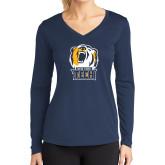 Ladies Syntrel Performance Navy Longsleeve Shirt-New York Tech Bear Head