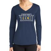 Ladies Syntrel Performance Navy Longsleeve Shirt-New York Tech
