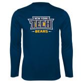 Performance Navy Longsleeve Shirt-New York Tech Bears