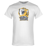 White T Shirt-New York Tech Bear Head Distressed