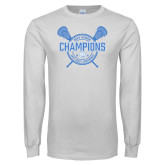 White Long Sleeve T Shirt-2018 Mens Lacrosse Champions