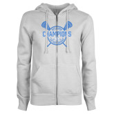 ENZA Ladies White Fleece Full Zip Hoodie-2018 Mens Lacrosse Champions