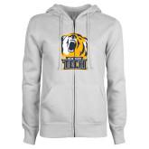 ENZA Ladies White Fleece Full Zip Hoodie-New York Tech Bear Head