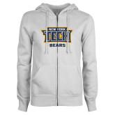ENZA Ladies White Fleece Full Zip Hoodie-New York Tech Bears