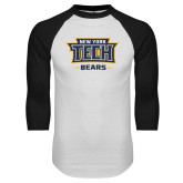 White/Black Raglan Baseball T Shirt-New York Tech Bears