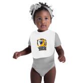 White Baby Bib-New York Tech Bear Head