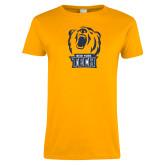 Ladies Gold T Shirt-New York Tech Bear Head