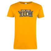 Ladies Gold T Shirt-New York Tech Distressed