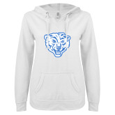 ENZA Ladies White V Notch Raw Edge Fleece Hoodie-Mascot