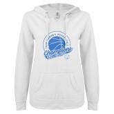 ENZA Ladies White V Notch Raw Edge Fleece Hoodie-2019 ECC Womens Basketball Champions