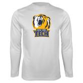 Performance White Longsleeve Shirt-New York Tech Bear Head