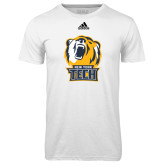 Adidas Climalite White Ultimate Performance Tee-New York Tech Bear Head