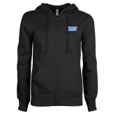 ENZA Ladies Black Fleece Full Zip Hoodie-NYIT