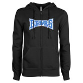 ENZA Ladies Black Fleece Full Zip Hoodie-Bears