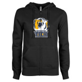 ENZA Ladies Black Fleece Full Zip Hoodie-New York Tech Bear Head