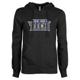ENZA Ladies Black Fleece Full Zip Hoodie-New York Tech