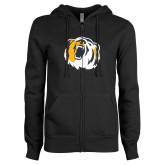 ENZA Ladies Black Fleece Full Zip Hoodie-Bear Head