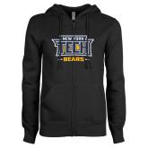 ENZA Ladies Black Fleece Full Zip Hoodie-New York Tech Bears