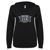 ENZA Ladies Black V Notch Raw Edge Fleece Hoodie-Softball New York Tech