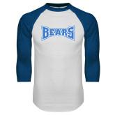 White/Royal Raglan Baseball T Shirt-Bears