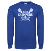 Royal Long Sleeve T Shirt-2018 Mens Lacrosse Champions