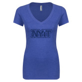 Next Level Ladies Vintage Royal Tri Blend V Neck Tee-NYIT Dark Blue Glitter
