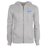 ENZA Ladies Grey Fleece Full Zip Hoodie-NYIT