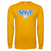 Gold Long Sleeve T Shirt-Primary Mark Distressed