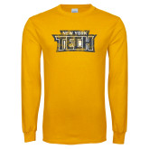 Gold Long Sleeve T Shirt-New York Tech Distressed