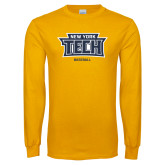 Gold Long Sleeve T Shirt-Baseball New York Tech