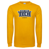 Gold Long Sleeve T Shirt-Lacrosse New York Tech