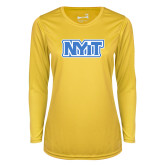 Ladies Syntrel Performance Gold Longsleeve Shirt-NYIT